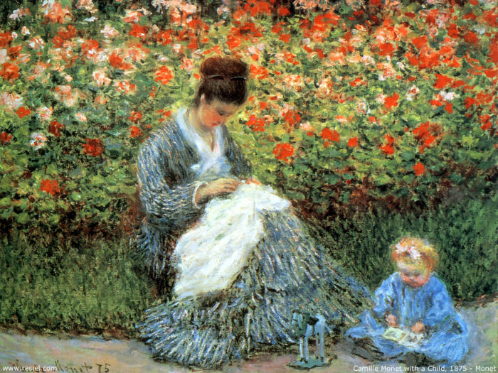 Camille Monet and a Child in a Garden