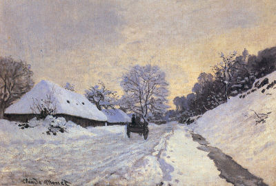 The Cart, Alley under the Snow at Honfleur